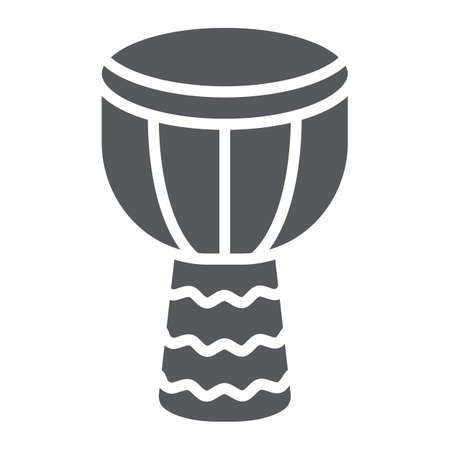 Djembe glyph icon, music and instrument, drum sign, vector graphics, a solid pattern on a white background.