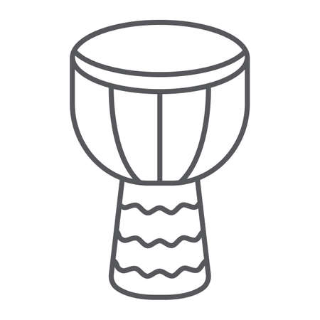Djembe thin line icon, music and instrument, drum sign, vector graphics, a linear pattern on a white background. Ilustração