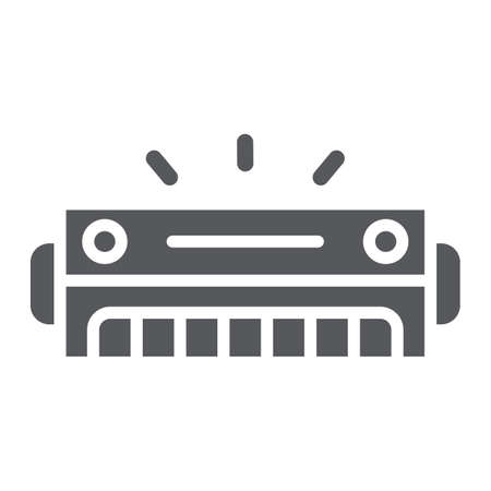 Harmonica glyph icon, music and sound, wind musical instrument sign, vector graphics, a solid pattern on a white background. Ilustrace