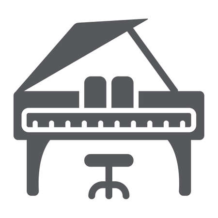 Piano glyph icon, music and sound, keyboard musical instrument sign, vector graphics, a solid pattern on a white background.