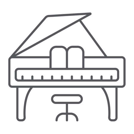 Piano thin line icon, music and sound, keyboard musical instrument sign, vector graphics, a linear pattern on a white background.