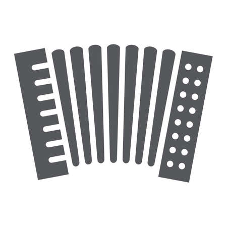 Accordion glyph icon, music and keyboard, national instrument sign, vector graphics, a solid pattern on a white background.