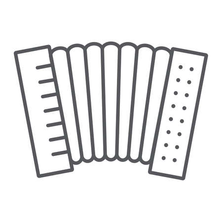 Accordion thin line icon, music and keyboard, national instrument sign, vector graphics, a linear pattern on a white background.