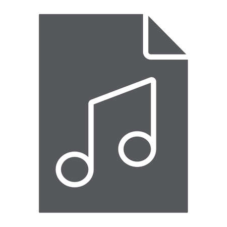 Music file glyph icon, music and sound, audio file sign, vector graphics, a solid pattern on a white background.