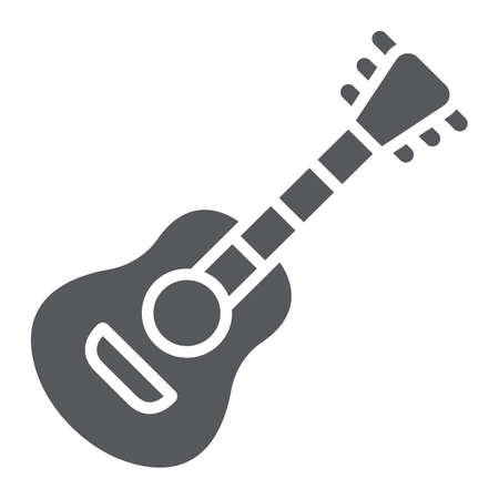 Guitar glyph icon, music and sound, acoustic musical instrument sign, vector graphics, a solid pattern on a white background.