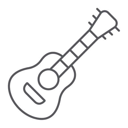 Guitar thin line icon, music and sound, acoustic musical instrument sign, vector graphics, a linear pattern on a white background. Ilustrace