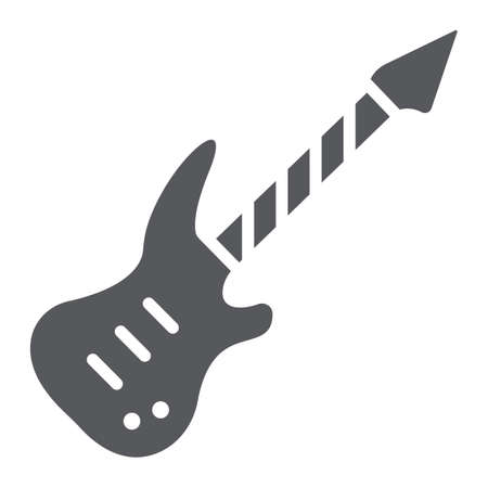 Electric guitar glyph icon, music and sound, string musical instrument sign, vector graphics, a solid pattern on a white background.