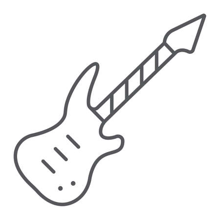Electric guitar thin line icon, music and sound, string musical instrument sign, vector graphics, a linear pattern on a white background. Ilustrace