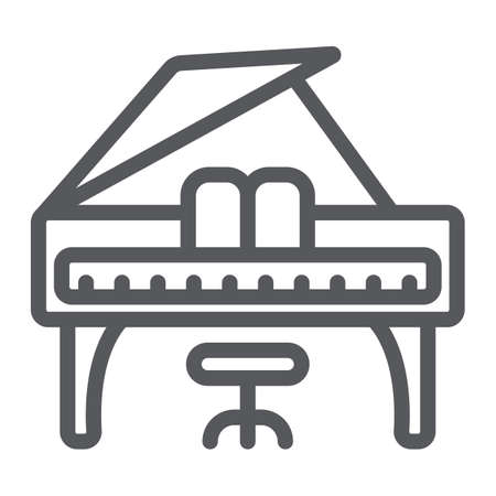 Piano line icon, music and sound, keyboard musical instrument sign, vector graphics, a linear pattern on a white background.