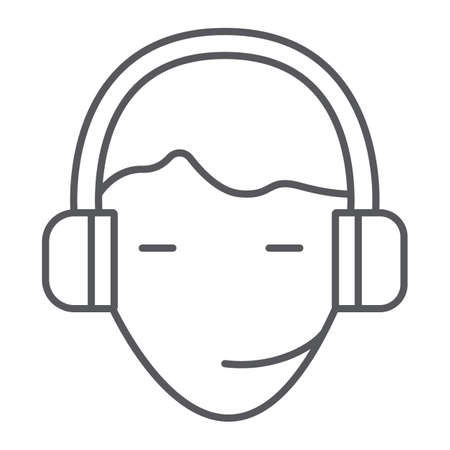 Support thin line icon, service and assistance, headset sign, vector graphics, a linear pattern on a white background.