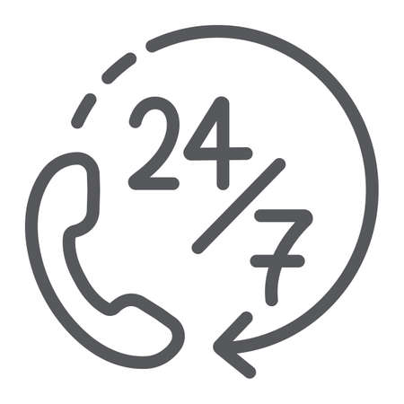Call 24 7 line icon, service and assistance, support 24 7 sign, vector graphics, a linear pattern on a white background.