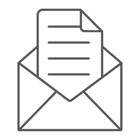 Envelope with letter thin line icon, mail and post, open envelope sign, vector graphics, a linear pattern on a white background. 向量圖像