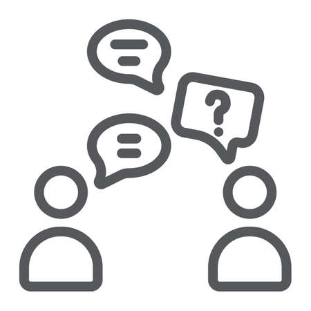 Speaking people line icon, chat and talking, conversation sign, vector graphics, a linear pattern on a white background. Иллюстрация