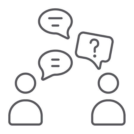 Speaking people thin line icon, chat and talking, conversation sign, vector graphics, a linear pattern on a white background.