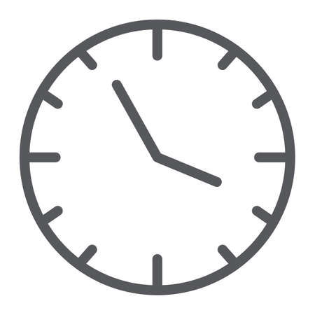 Clock line icon, time and hour, watch sign, vector graphics, a linear pattern on a white background.