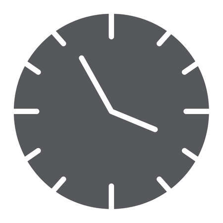 Clock glyph icon, time and hour, watch sign, vector graphics, a solid pattern on a white background.