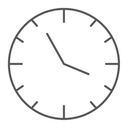 Clock thin line icon, time and hour, watch sign, vector graphics, a linear pattern on a white background.