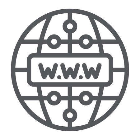 Internet line icon, website and globe, network sign, vector graphics, a linear pattern on a white background.