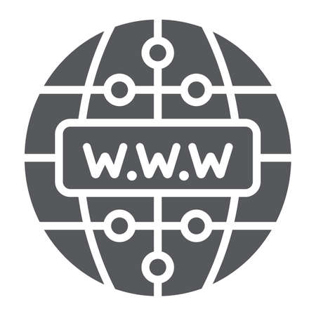 Internet glyph icon, website and globe, network sign, vector graphics, a solid pattern on a white background. Ilustrace