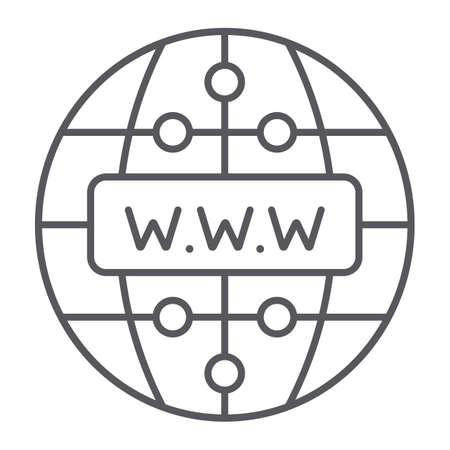 Internet thin line icon, website and globe, network sign, vector graphics, a linear pattern on a white background.