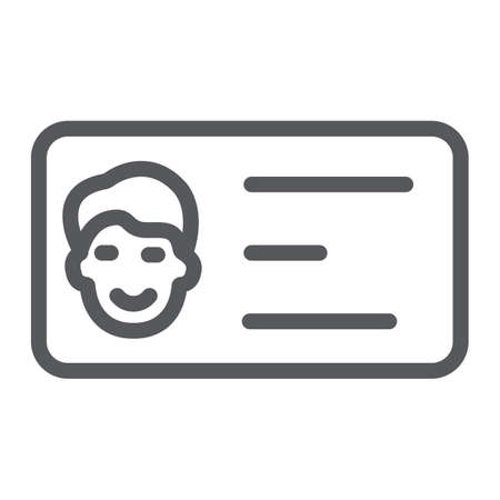 Business card line icon, contact and identity, id card sign, vector graphics, a linear pattern on a white background.