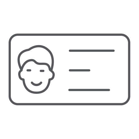 Business card thin line icon, contact and identity, id card sign, vector graphics, a linear pattern on a white background.