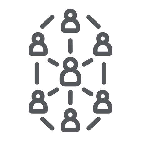 Social network line icon, website and internet, community network sign, vector graphics, a linear pattern on a white background. Illustration