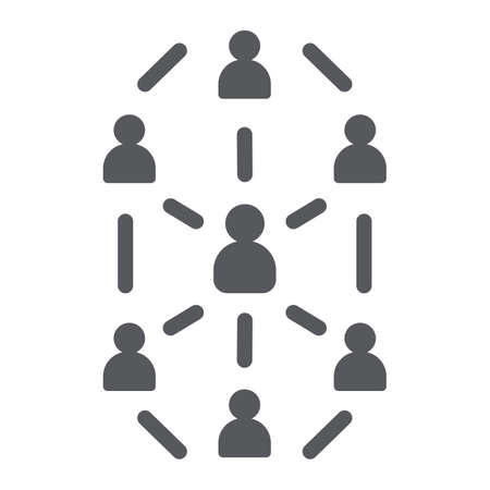 Social network glyph icon, website and internet, community network sign, vector graphics, a solid pattern on a white background. Illustration