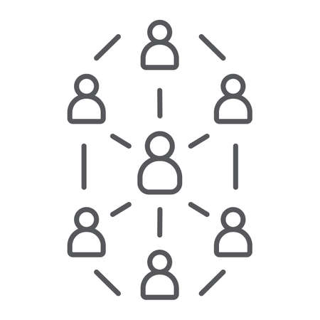 Social network thin line icon, website and internet, community network sign, vector graphics, a linear pattern on a white background. Illustration