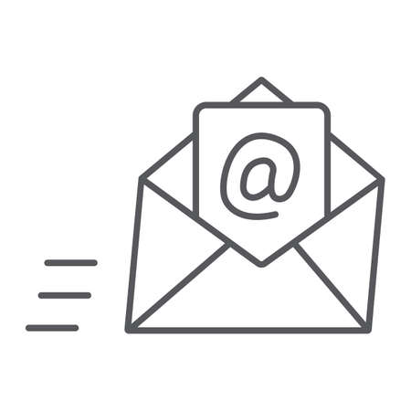 Email thin line icon, mail and letter, mail envelope sign, vector graphics, a linear pattern on a white background.