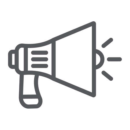 Megaphone line icon, announcement and speaker, loudspeaker sign, vector graphics, a linear pattern on a white background. Stock Vector - 124773590