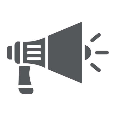 Megaphone glyph icon, announcement and speaker, loudspeaker sign, vector graphics, a solid pattern on a white background.