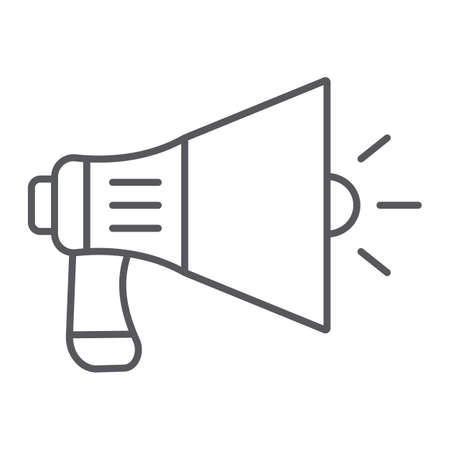 Megaphone thin line icon, announcement and speaker, loudspeaker sign, vector graphics, a linear pattern on a white background.