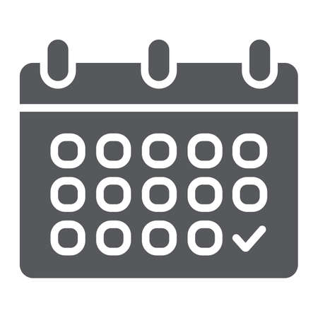 Calendar glyph icon, date and schedule, reminder sign, vector graphics, a solid pattern on a white background. 일러스트