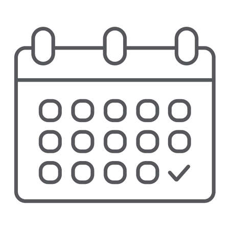 Calendar thin line icon, date and schedule, reminder sign, vector graphics, a linear pattern on a white background.