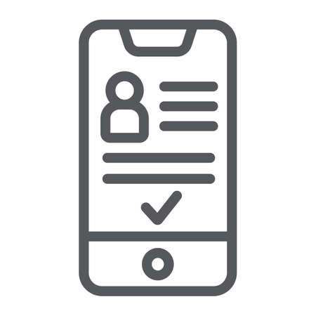 Add friend on smartphone line icon, phone and user, social account sign, vector graphics, a linear pattern on a white background.