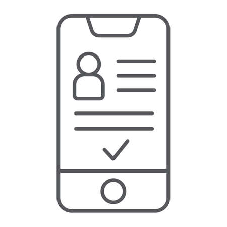 Add friend on smartphone thin line icon, phone and user, social account sign, vector graphics, a linear pattern on a white background. Illustration