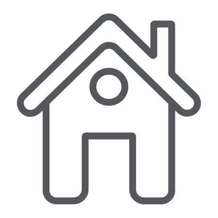 Home page line icon, web and house, construction sign, vector graphics, a linear pattern on a white background.