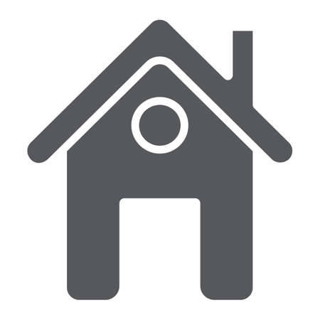 Home page glyph icon, web and house, construction sign, vector graphics, a solid pattern on a white background. 向量圖像