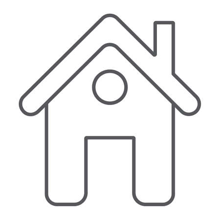 Home page thin line icon, web and house, construction sign, vector graphics, a linear pattern on a white background. 向量圖像