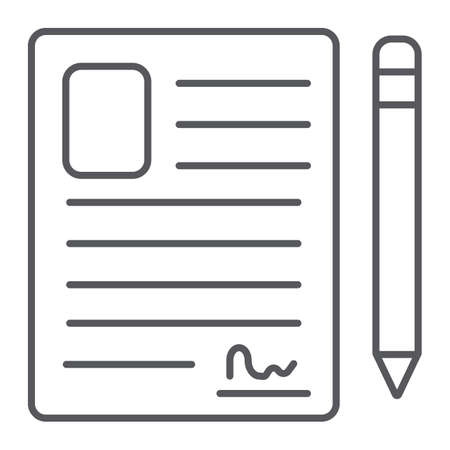Contact form thin line icon, blank and register, document sign, vector graphics, a linear pattern on a white background.