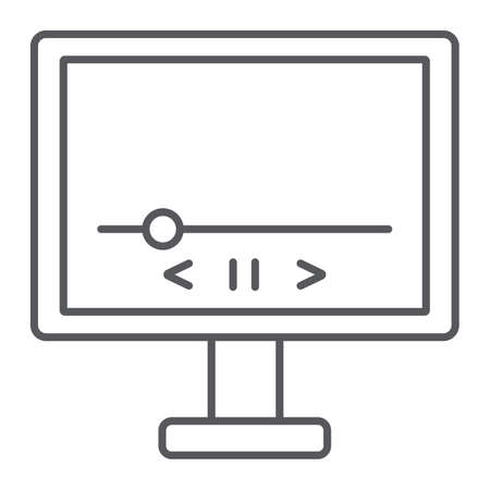 Video thin line icon, monitor and interface, media player sign, vector graphics, a linear pattern on a white background.