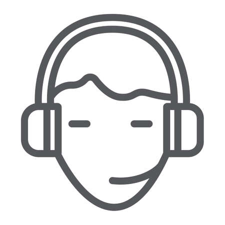 Support line icon, service and assistance, headset sign, vector graphics, a linear pattern on a white background.