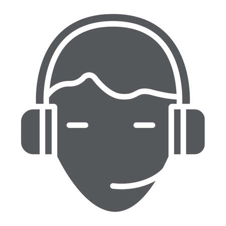 Support glyph icon, service and assistance, headset sign, vector graphics, a solid pattern on a white background.