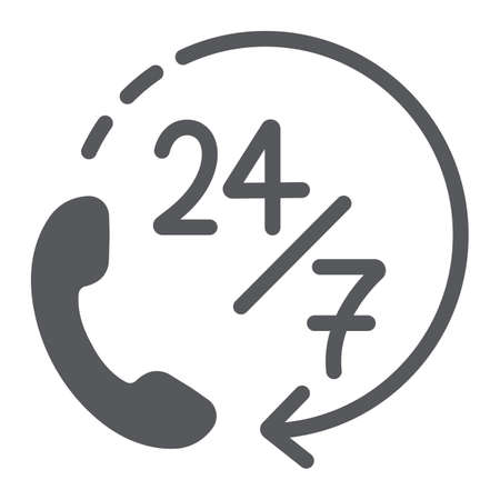 Call 24 7 glyph icon, service and assistance, support 24 7 sign, vector graphics, a solid pattern on a white background. Illustration