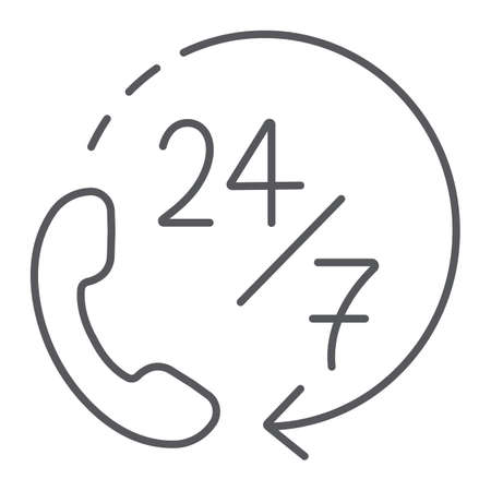 Call 24 7 thin line icon, service and assistance, support 24 7 sign, vector graphics, a linear pattern on a white background.
