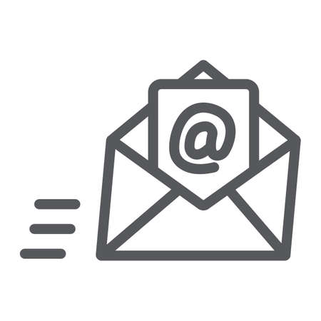 Email line icon, mail and letter, mail envelope sign, vector graphics, a linear pattern on a white background.