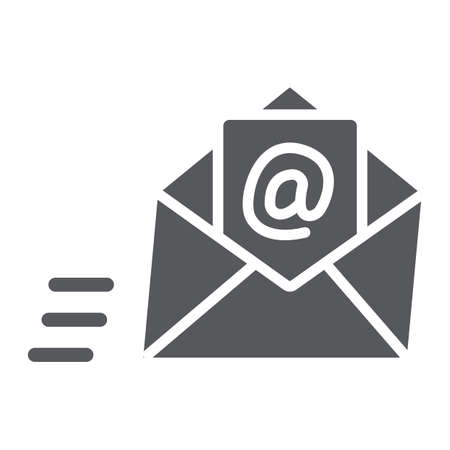 Email glyph icon, mail and letter, mail envelope sign, vector graphics, a solid pattern on a white background. 向量圖像