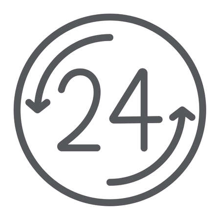 Open 24 hours line icon, service and time, around the clock sign, vector graphics, a linear pattern on a white background. 向量圖像
