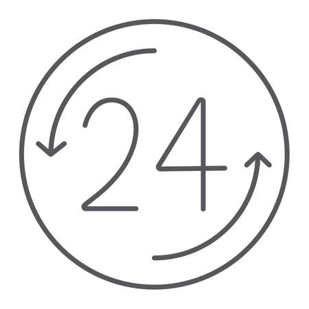 Open 24 hours thin line icon, service and time, around the clock sign, vector graphics, a linear pattern on a white background. Illustration